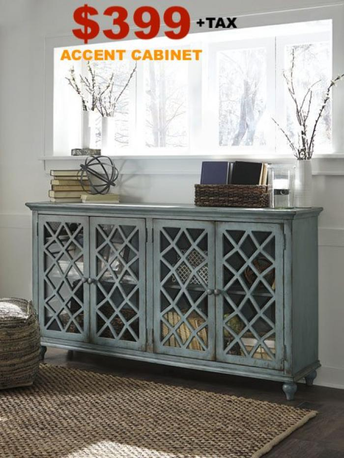 Mirimyn Antique Teal 4 Door Accent Cabinet,Instore