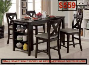 Lana Dark Walnut Counter Height Table w/4 Counter Chairs