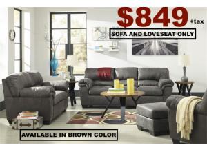 Grey Leather Sofa & Loveseat
