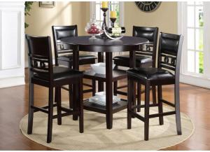 Gia Ebony Counter Height Dining Set W/ 4 Chairs