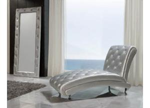 LORENA 623 Leather Silver Lounge Chaise