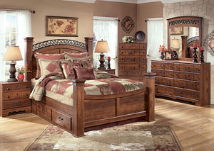 Timberline Queen Poster Storage Bed