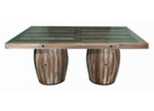 Million Dollar Rustic Slatted 2 Barrel Table