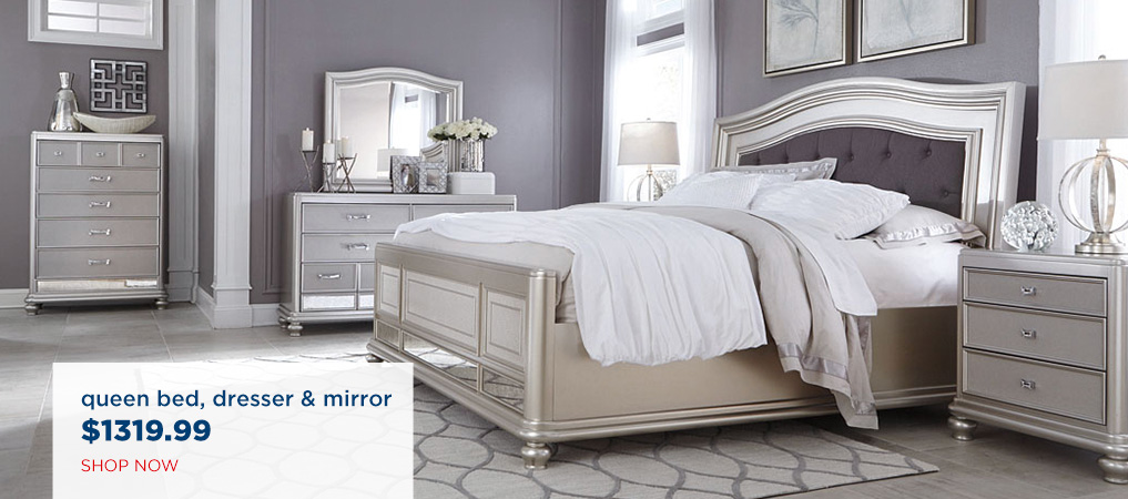 Queen Bed, Dresser & Mirror