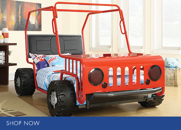 Youth Red Jeep Bed