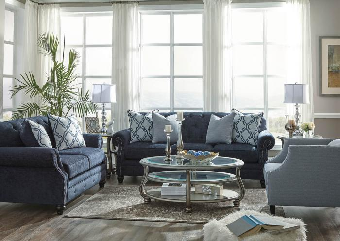 Blue Sofa, Loveseat and Chair,In-store