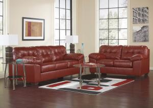Red Sofa Sleeper and Loveseat