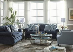 Blue Sofa, Loveseat and Chair