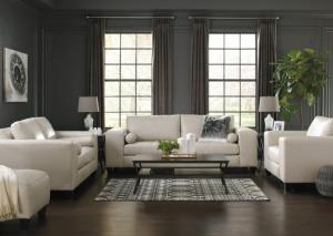 White Sofa, Loveseat and Chair