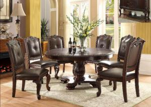 Brown Round Dining Table w/ 4 Side Chairs