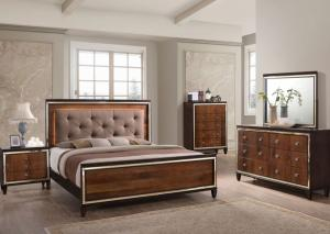 Brown Upholstered Panel Queen Bed w/Dresser, Mirror, Chest and Nightstand