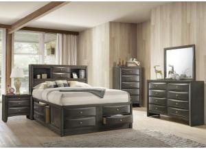 Emily Grey Queen Captain's Bed w/8 Drawer Dresser, Mirror, Drawer Chest, and Nightstand