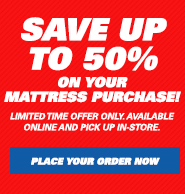 Save up to 50% on Mattresses