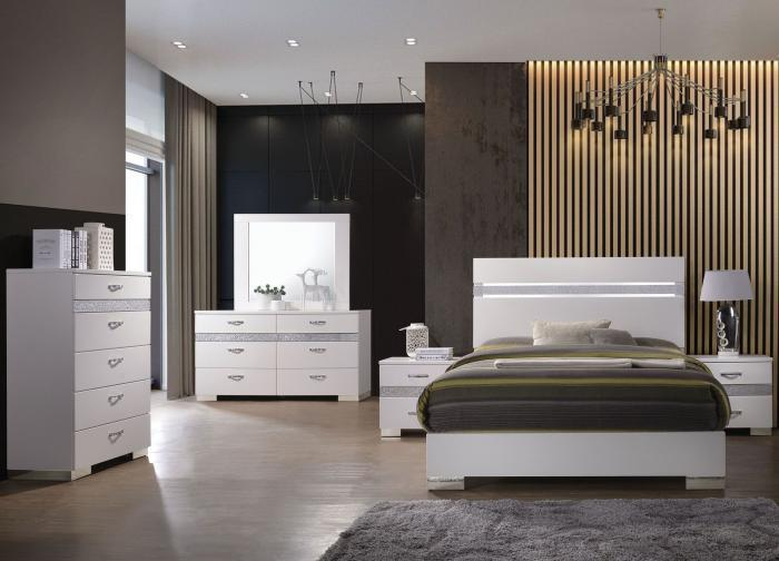 Naima II White Queen Platform Bed w/Dresser and Mirror,In-Store