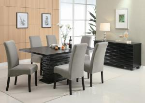 Stanton Black Dining Table w/4 Grey Chairs