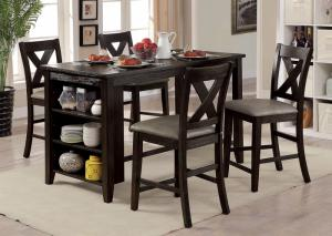 Lana Dark Walnut Counter Height Table w/4 Chairs