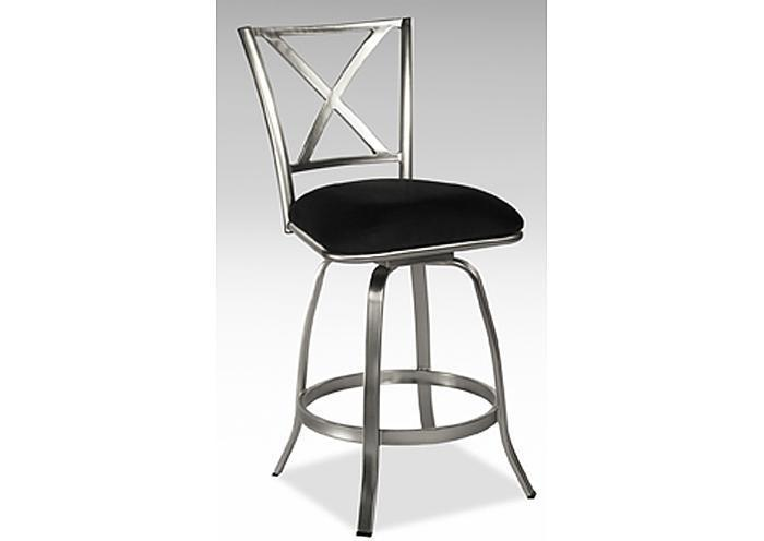 X back Brushed Steel Counter Height Swivel Bar Stool,Mr Bar Stool