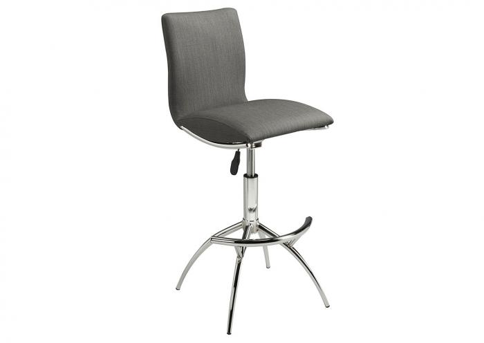 GREY TEXT POLISHED CHROME BARSTOOL,Mr Bar Stool