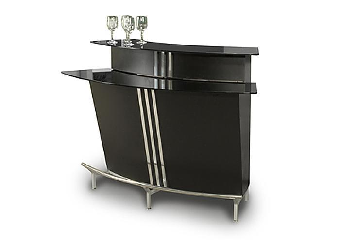 Broadway Bar Black  w/ Stainless Steel Footrest,Mr Bar Stool