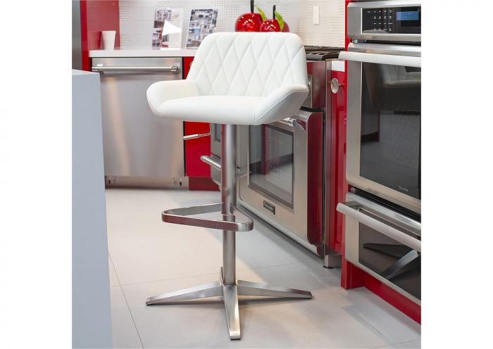 WHITE X STITCH STAINLESS STEEL BARSTOOL,Mr Bar Stool