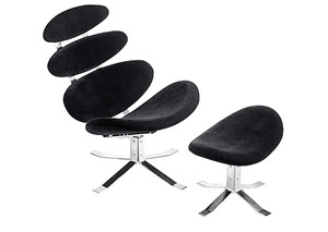 Petal Lounge Chair & Ottoman - Black