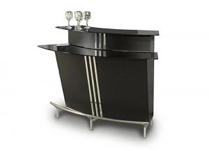 Broadway Bar Black  w/ Stainless Steel Footrest