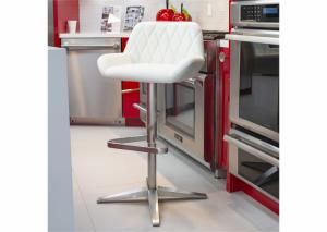 WHITE X STITCH STAINLESS STEEL BARSTOOL