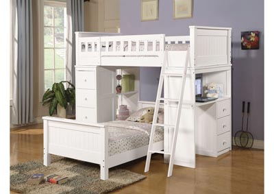 Image for Quarters Twin / Twin Loft Bed with Desk and Chest - White