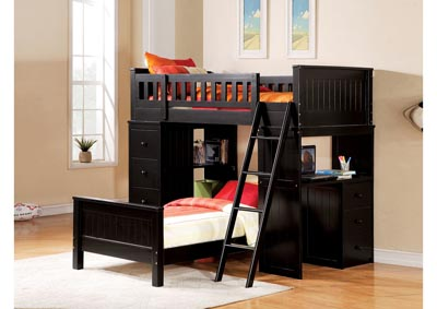 Image for Quarters Twin / Twin Loft Bed with Desk and Chest - Black