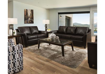 Image for Lane Furniture  Grant Top Grain Leather / Mate Sofa and Love Seat Bark