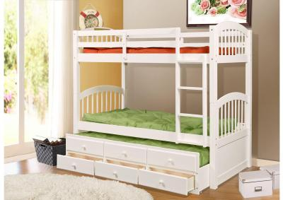 Image for Santa Paula Captain's Bunk Bed w/ Trundle & Storage - White