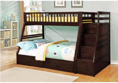 Image for Dakota Twin/Full Angled Bunk Bed with Storage Staircase and Under Drawers - Espresso