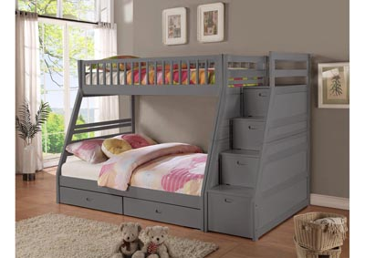 Image for Dakota Twin/Full Angled Bunk Bed with Storage Staircase and Under Drawers Gray
