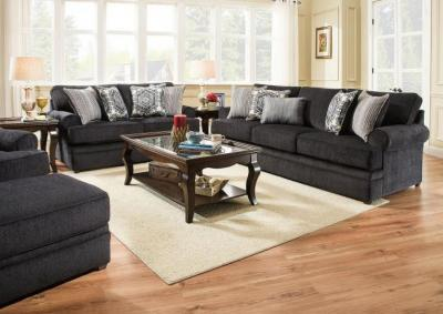 Image for Simmons Roosevelt Stationary Sofa and Love Seat - Slate