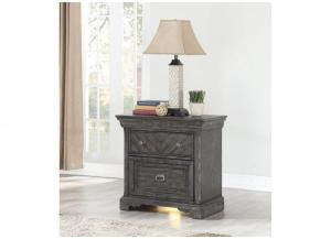 Image for Santa Fe 3 Drawer Nightstand with Night Light and USB Charging Station