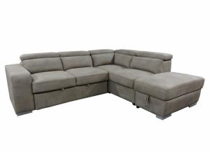 Image for Baresi Media Sofa Chaise with Pull Out Ottoman