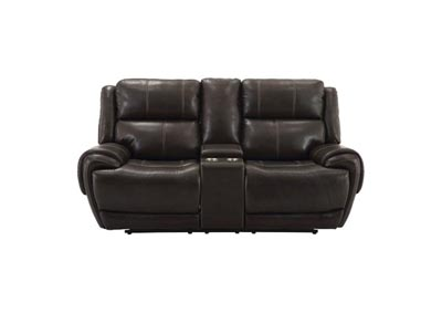 Image for Spencer Top Grain Leather Power Dual Reclining Love Seat with Power Headrest and USB Charging Brown