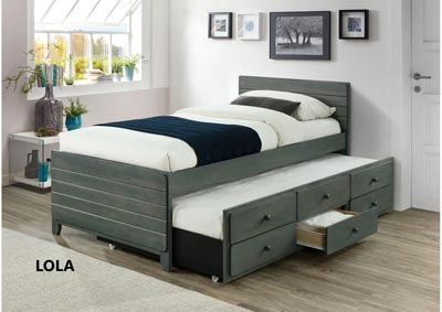 Image for Lola Gray Twin Captain Trundle Bed
