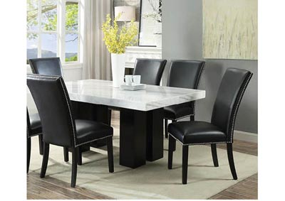 Image for Cam White Marble Dining Room Set with 6 Black Chairs