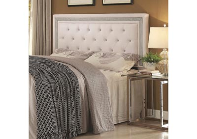 Image for Glamorous Contemporary Queen/Full Headboard - White
