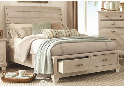 Image for Rock White Wash Platform Storage Bed Queen
