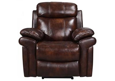 Image for Joplin Top Grain Leather Power Recliner - Brown