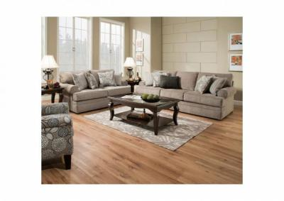 Image for Simmons Roosevelt Stationary Sofa and Love Seat - Pewter