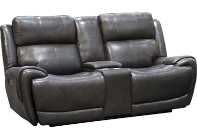 "Image for Spencer Top Grain Leather Power Dual Reclining Love Seat with Power Headrest and USB Charging  "" Gray"