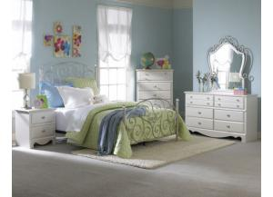 Spring Rose Full Size Bed, Dresser, Mirror, Chest, and Night Stand