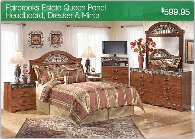 Fairbrooks Estate Queen Poster Headboard, Dresser, & Mirror