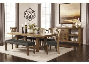 Tamilo Rectangular Dining Table w/4 Chairs & Bench