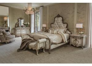 PLATINE DE ROYALE (King Bed, Dresser,Mirror & 1 Nightstand)