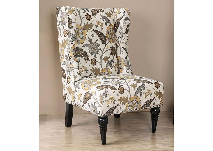 Elche Floral Accent Chair,Furniture of America Close Out