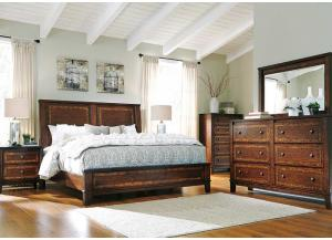 Dawlyn Queen Panel Bed, Dresser, Mirror & Night Stand